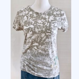 Old Navy Gray White Burn Out Embroidered Tee Shirt